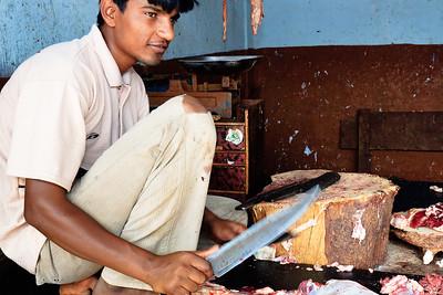 08IB513 Bidar Butcher Food India Karnataka Market Meat Men