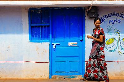 08IB512 Bidar Blues Geometry India Karnataka Streets