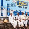 08IB081 Blue India Maharashtra Menavali Men Painting Sign