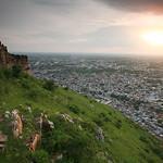 06IP455 India Jaipur Light Plains Rajasthan Sunset