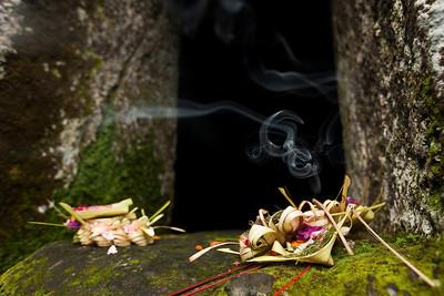 Canang sari offering, Gunung Kawi, Bali