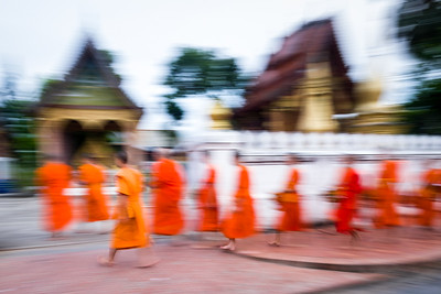 Monks return to Wat Sene, Luang Prabang