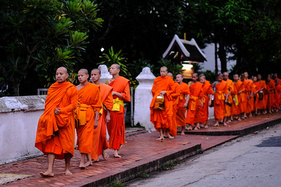 Morning alms collection, Luang Prabang