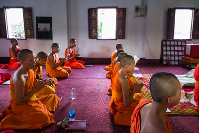 Evening Chanting at Wat Syrimoungkoung Xiayaram, Luang Prabang