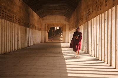 Monk at Shwezigone Pagoda, Nyaung U
