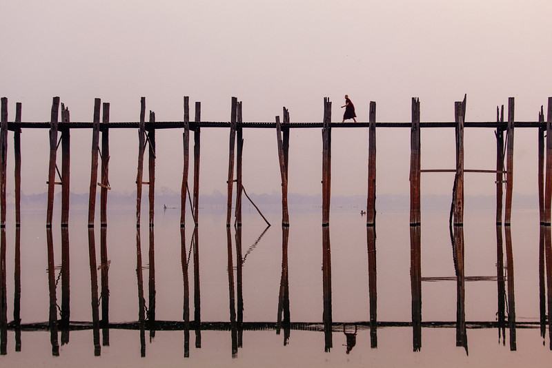 Monk on a Mission, U Bein Bridge, Amarapura