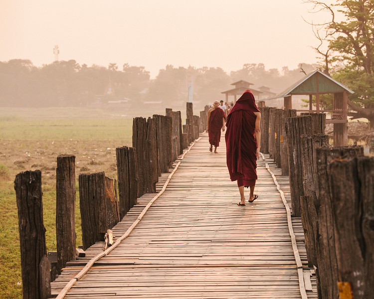 Monks Passing, Taungthaman Lake, Amarapura