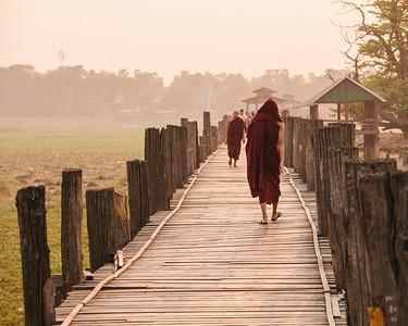 Monks Passing, Taungthaman Lake, Amarapura