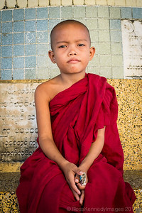 Very Bored Little Monk Collecting Donations at Bago