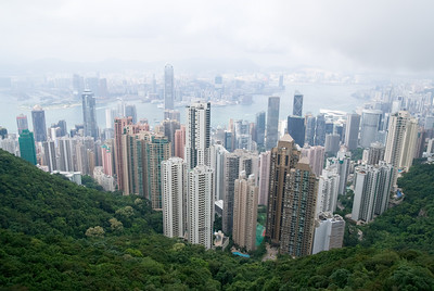 the skyline of hong kong as seen from the hills on hongkong island. Kowloon and the harbour area are seen in the back.