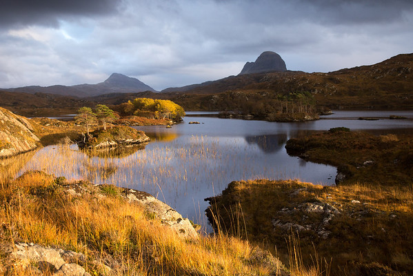 Canisp and Suilven across Loch Druim SuardalainBy Glencanisp Lodge, Lochinver, Assynt. North West Highlands. Scotland.