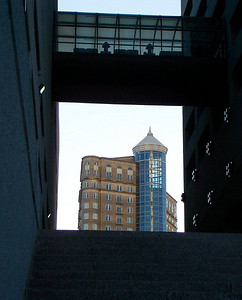 Building framed by buildings
