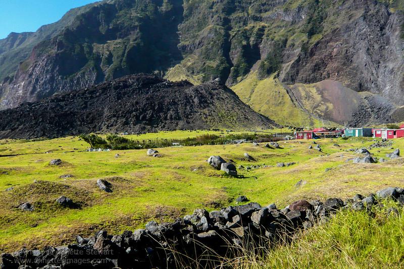 Edinburgh of the Seven Seas, Tristan da Cunha<br /> Lava from 1961 eruption, on edgse of settlement