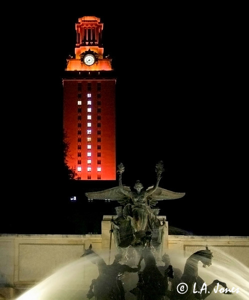 Night UT Tower with Fountain