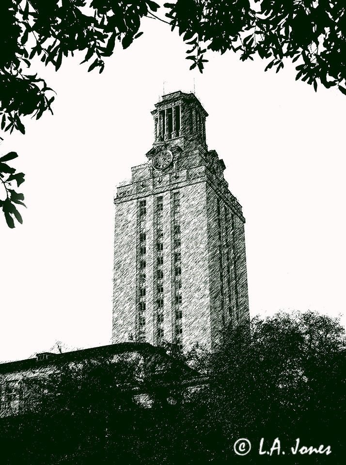 UT Tower Pen and Ink