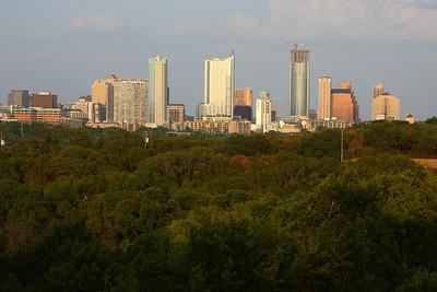 Downtown Austin skyline as seen from a west Austin hilltop.