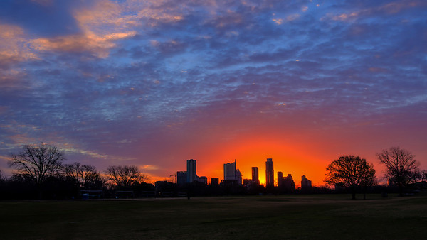 Zilker Park is just west of downtown Austin and provides a beautiful view of the sunrise over the skyline.