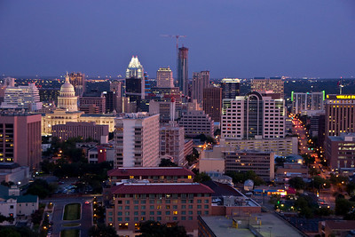 Downtown Austin at night, as seen from the UT Clock Tower.