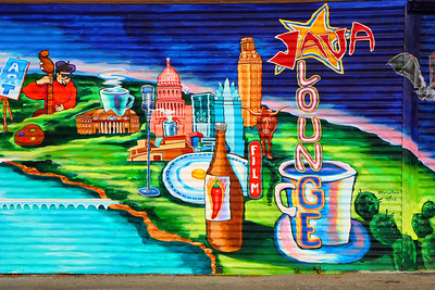 Colorful mural on the wall of the Lamar street Austin Java cafe and coffee shop.