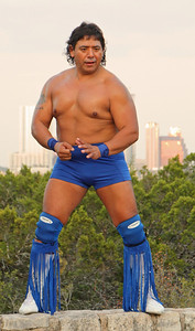 "Superstar.  Professional wrestler Gerald ""Superstar"" with the Austin skyline in the background."