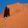 The trail to the top of Ayers Rock.