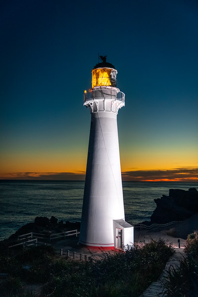 The gorgeous Castle Point Lighthouse at dusk. This is the first lighthouse I've seen that has dedicated uplighting! Was able to find the time where the brightness of the uplighting balanced out with the sunset light.