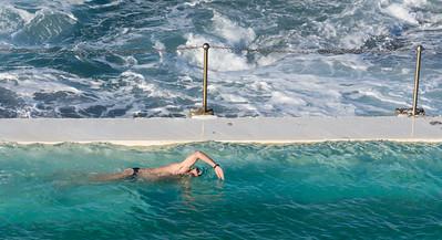 swimmer in ocean pool