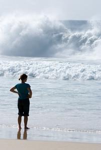 dani checking on the surf
