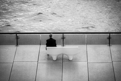 man on bench, Sydney harbor