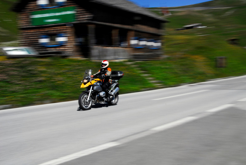 Motorcyclist on Grossglockner Pass, Austria