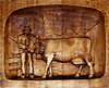 Wood carving with Swiss Cow and Cow Herder - Austria