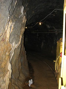 Rounding a bend in the mine tunnel.