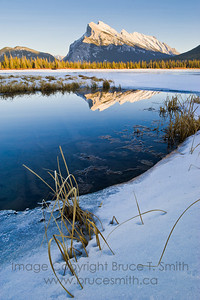 Rundle Mountain, Banff National Park, reflected in the meltwater of Vermilion Lake on a mild winter day.