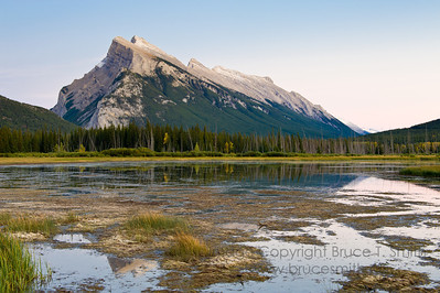 Rundle Mountain, Banff National Park, in autumn.