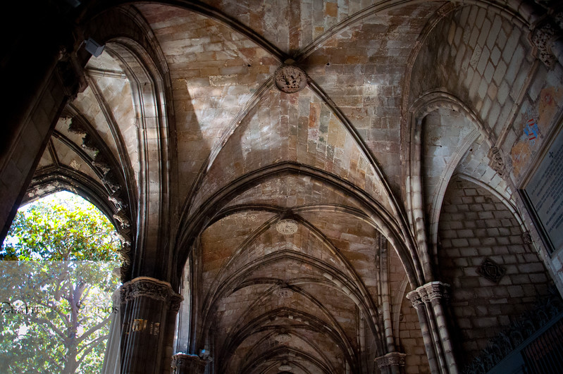 Cloisters of Barcelona Cathedral. The Cathedral of Barcelona