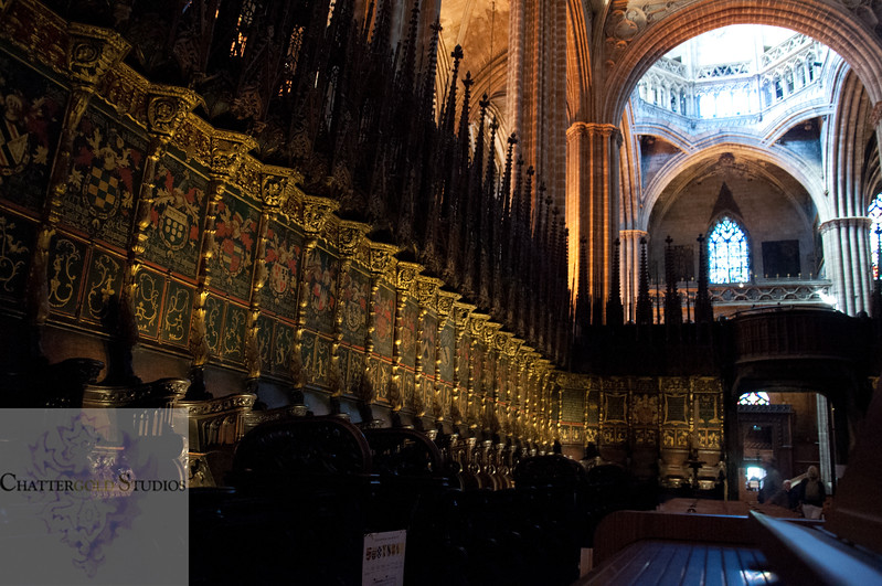Chairs of the priviledged. In the middle ages, the rich had their own very ornate, gold plated assigned seat in the Cathedral of Barcelona.ted seats The Cathedral of Barcelona
