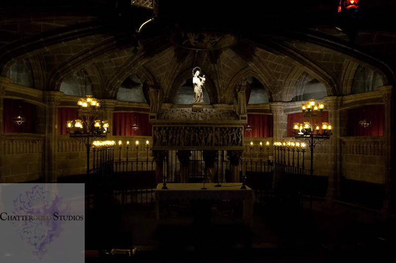The tomb of Saint Eulalia. The Cathedral of Barcelona