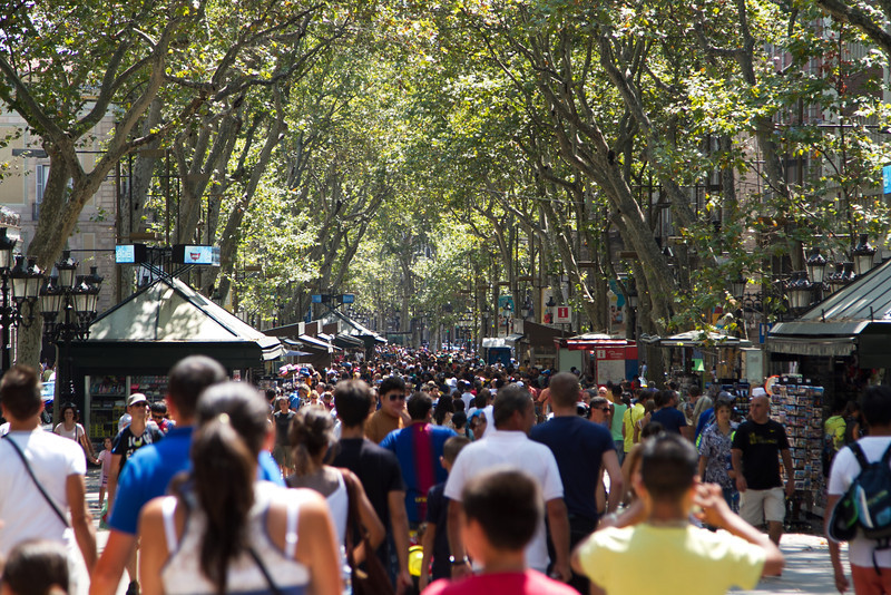 The Crowds on La Rambla