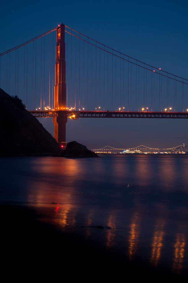 Nightime reflections of the Golden Gate