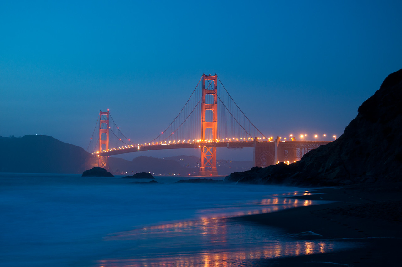 Golden Gate Bridge Blue Night