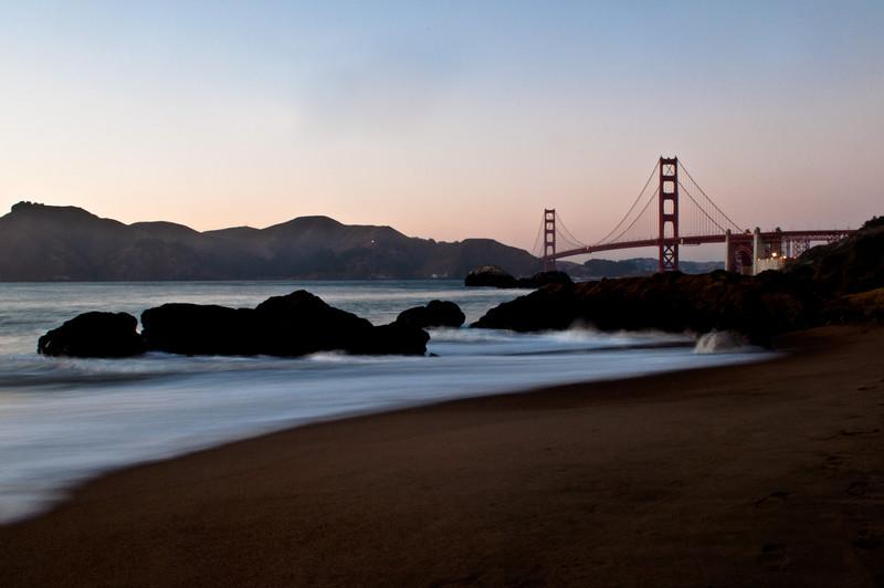 Baker Beach at sunset. San Francisco, CA