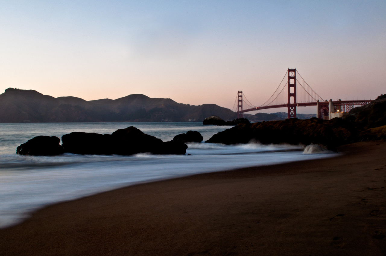 Baker Beach at sunset. San Francisco, CA