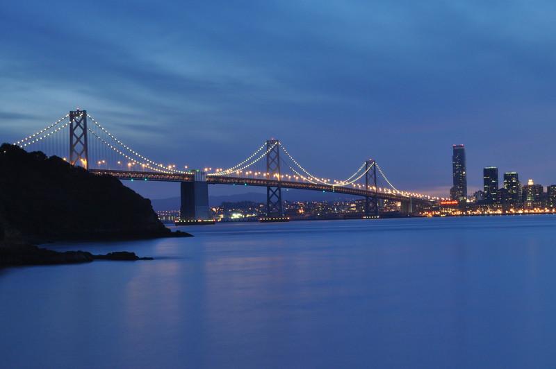 Bay Bridge at dusk.