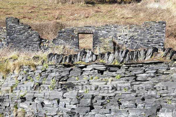 Industrial ruins at Abereiddi,old slate quarry.