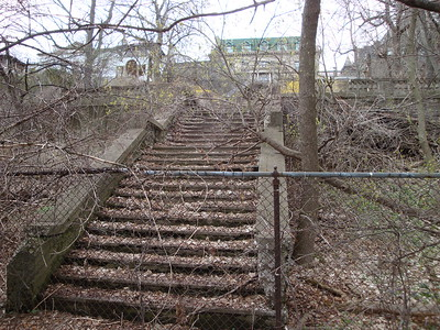 Now neglected stairway once leading to the edge of the Lake Michigan shoreline.