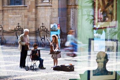 Mother and son duo stop to select next piece, Hendrik Conscienceplein, Antwerp