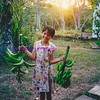 sylvia at sunset with bananas