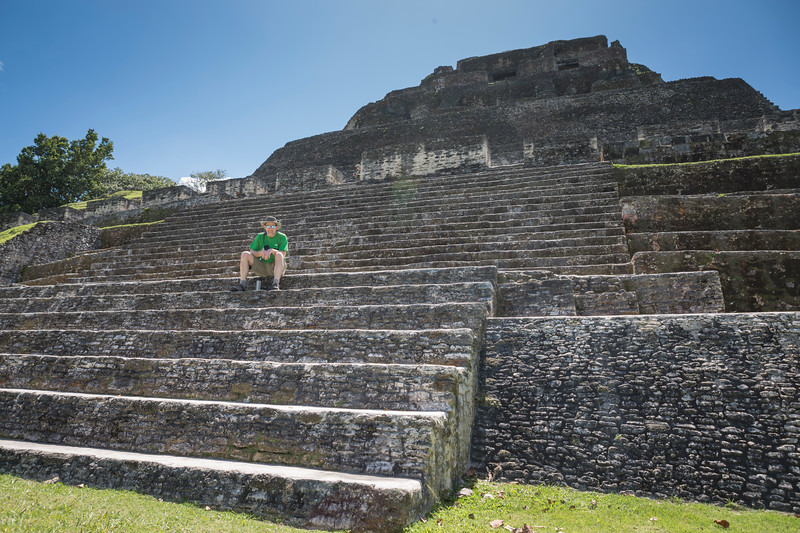 Sitting on the steps of Xunantunich.