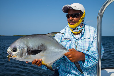 Permit #2. guide Dieon dropped first one.Hooked 5 for week, landed 3.