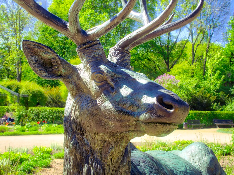 A statue of a deer in Tiergarten, Berlin